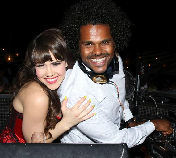 Claire Sinclair with DJ Mike Attack at STK 3-Year Anniversary