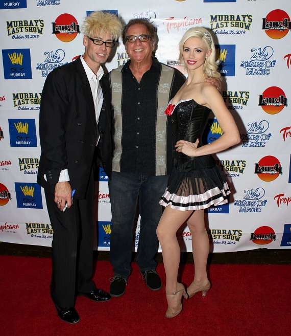 """Murray and Chloe with Ron Carr, producer of Murray's new show, """"Have Magic, Will Travel"""""""