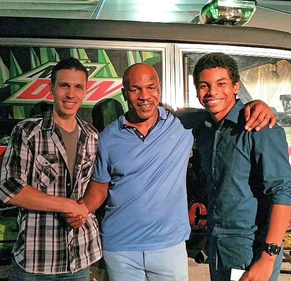 Boxing Legend Mike Tyson and son visit Fright Dome at Circus Circus in Las Vegas