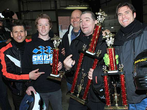 Mike Hammer with trophy winners: Cody Kelleher, track owner Gene Wood (in back), Allen Woodman and Taylor Barton
