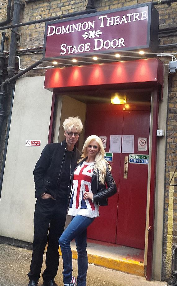 Murray SawChuck and wife Chloe Crawford outside the studio where Britain's Got Talent is taped