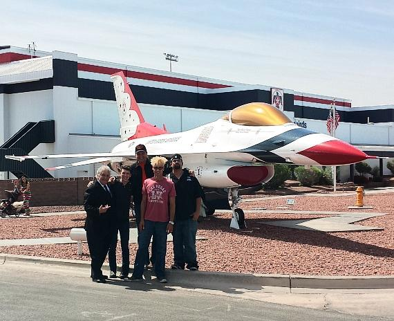"Lenny Windsor, Ben Young, Douglas ""Lefty"" Leferorvich, Murray SawChuck and Daniel Coryell at Nellis Air Force Base"