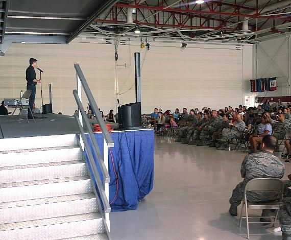 Ben Young performs for the USO at Nellis Air Force Base