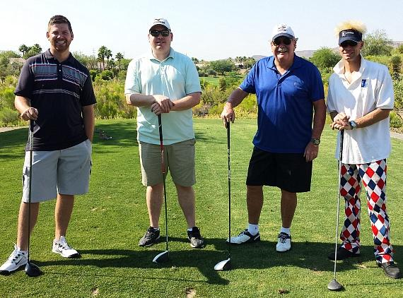 Murray with golfers at 'Beggin' For Golf' Charity Event