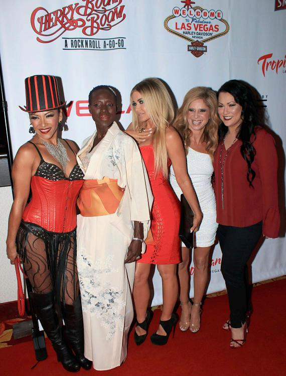 """Carmen Electra with cast members of """"Cherry Boom Boom"""" at Grand Opening"""