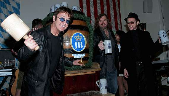 The Australian Bee Gees tapping the keg at Hofbräuhaus Las Vegas