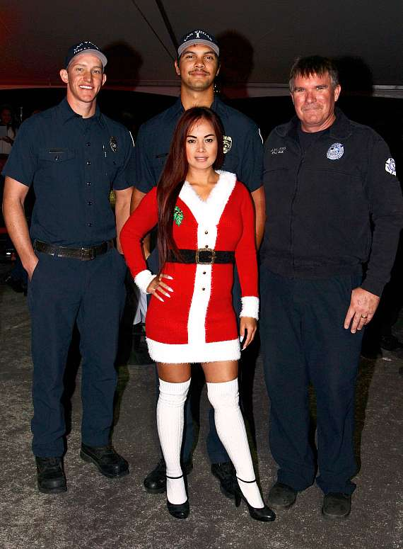 Dixie Miranda with crew of Las Vegas Fire & Rescue