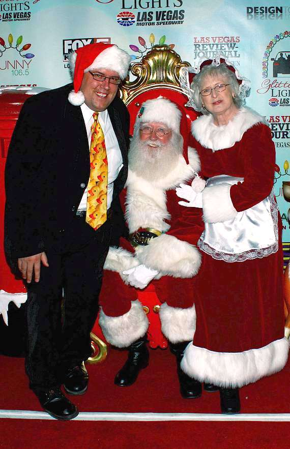 Magician Adam London with Santa Claus & Mrs. Claus