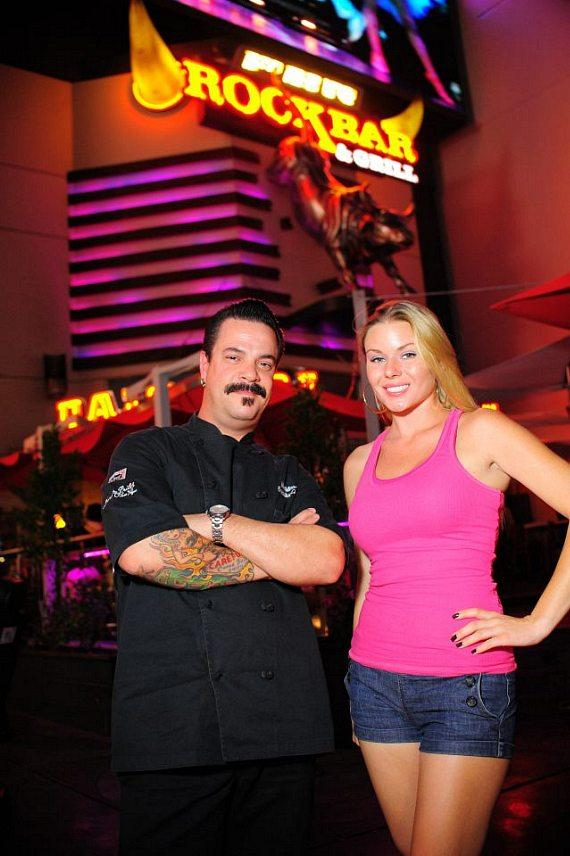"""Chef Mike Minor and Christina """"CC"""" Christensen at PBR Rock Bar in Las Vegas"""