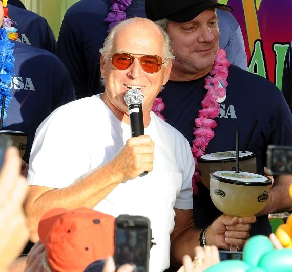 Jimmy Buffett with Lucky Rita margarita at Margaritaville Las Vegas