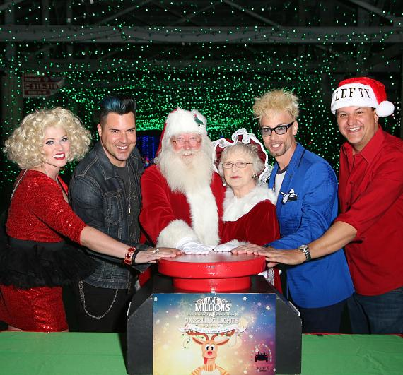1-2-3 Let there be Glittering Lights at Las Vegas Motor Speedway with D.D., Frankie Moreno, Santa, Mrs. Claus, Celebrity Magician Murray, and Lefty
