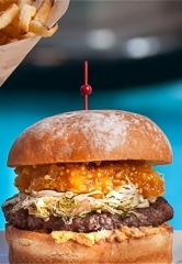 Mario Batali's Signature Burger Joint B&B Burger & Beer features Indoor/Outdoor Seating, 16 TVs and a Brand New Lamb Burger for Spring