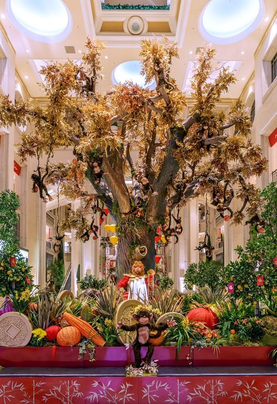 28 monkeys hang from the wishing tree in The Palazzo Chinese New Year display