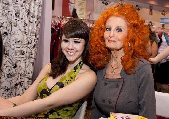 Claire Sinclair and Tempest Storm at BettiePage Clothing at MAGIC