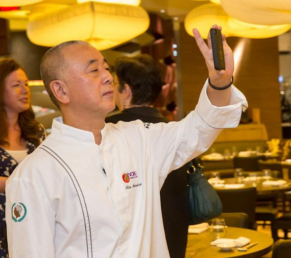 Chef Nobu Matsuhisa addressing guests at the pre-opening breakfast at Nobu Restaurant and Lounge Caesars Palace