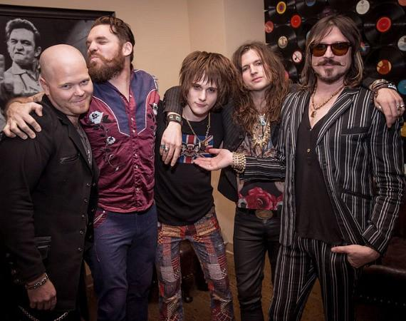 Rival Sons backstage with Tyler Bryant at Vinyl at Hard Rock Hotel in Las Vegas