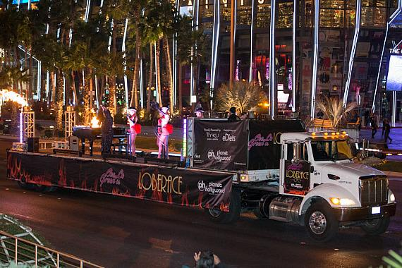 CeeLo Green arrives on the back of a truck at Planet Hollywood Resort & Casino