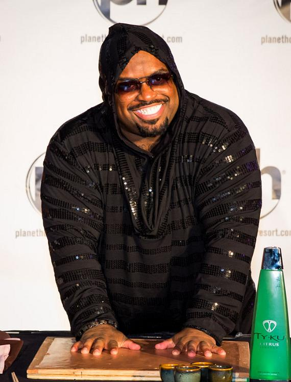 CeeLo Green casts his handprints in cement at Planet Hollywood Resort & Casino