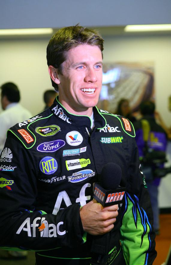 Carl Edwards being interviewed