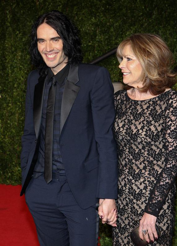 Comedian Russell Brand and mother Barbara Brand