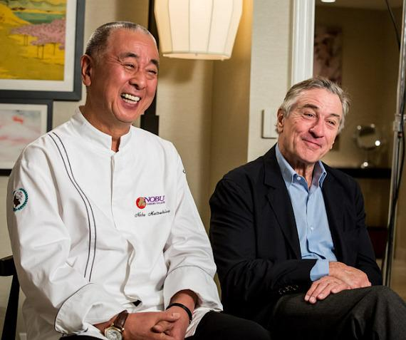 Chef Nobu Matsuhisa and Robert DeNiro during interview at Nobu Hotel