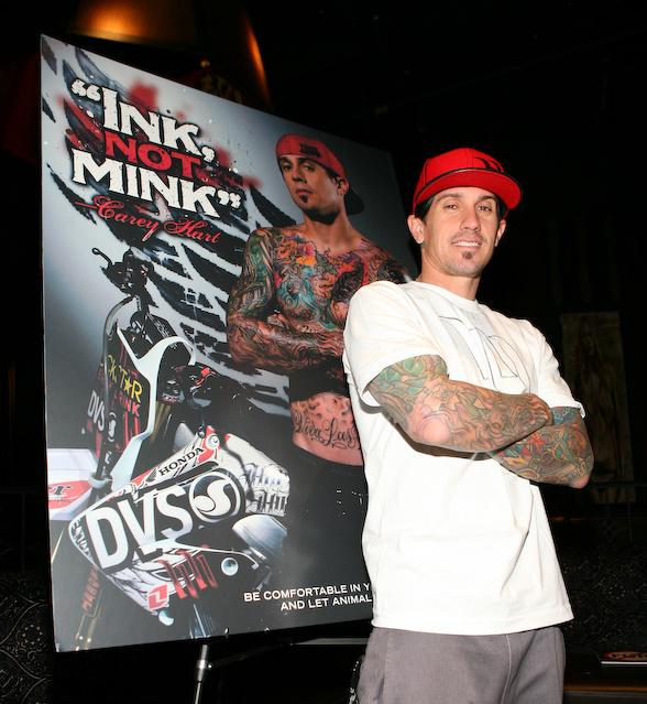 Carey Hart Unveils New 'Ink, Not Mink' Peta Ad at Wasted Space