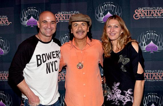 Andre Agassi and Steffi Graff met with Carlos Santana backstage