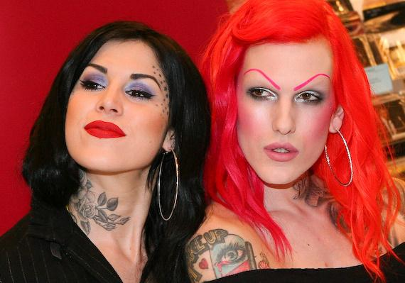 Kat Von D and makeup artist Jeffree Star at book signing at Borders Bookstore