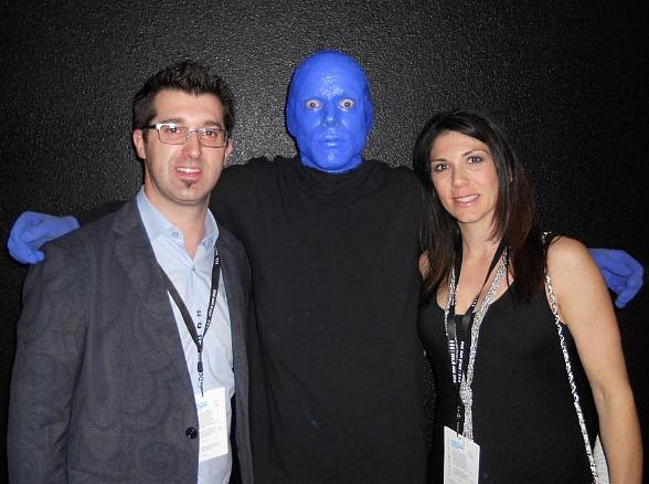 Comedy-hypnotist Marc Savard with wife Joanna at Blue Man Group