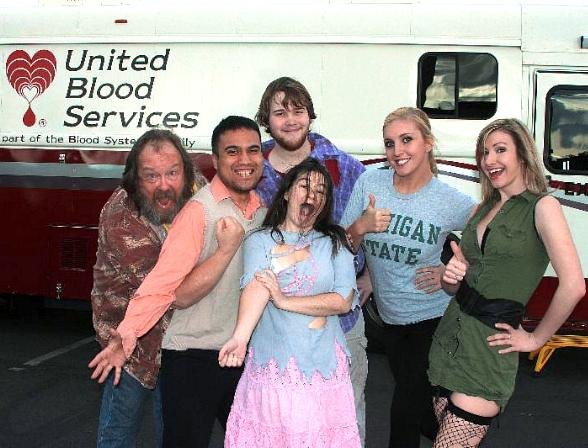 Cast Members from Evil Dead The Musical wait to donate blood at Evil Dead / Maximum Comics / United Blood Services Blood Drive