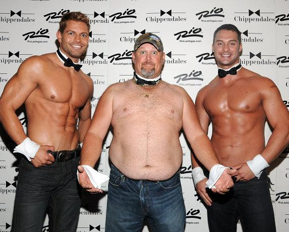 Larry The Cable Guy with the Chippendales dancers