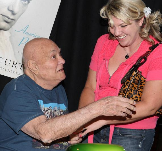 "Tony Curtis and fan at book signing of ""American Prince - A Memoir"""