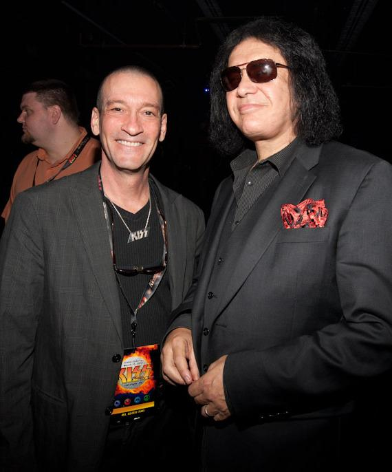KUNV DJ George Lyons and Gene Simmons at KISS by Monster Mini Golf Grand Opening in Las Vegas