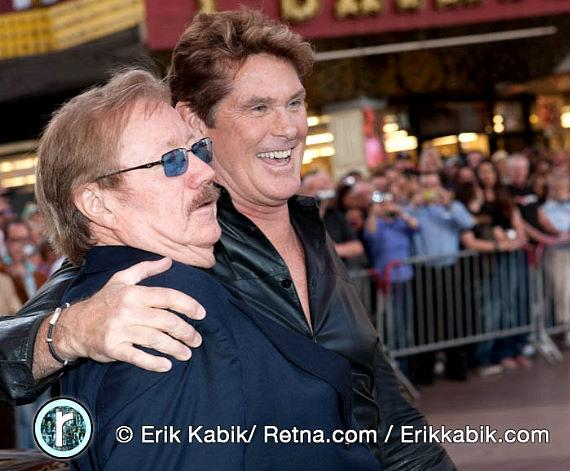 Knight Rider creator Glen Larson with David Hasselhoff