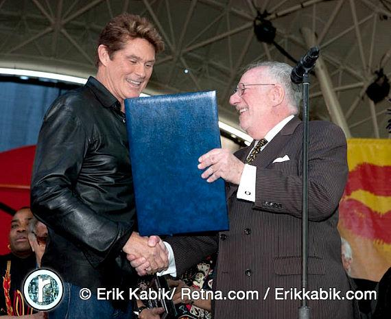 David Hasselhoff and Mayor Oscar Goodman