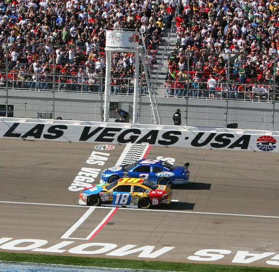 Kyle Busch racing in #18 in NASCAR Shelby 427