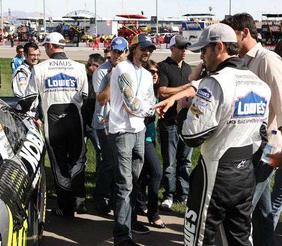 Adrian Brody at Jimmy Johnson's car before the race