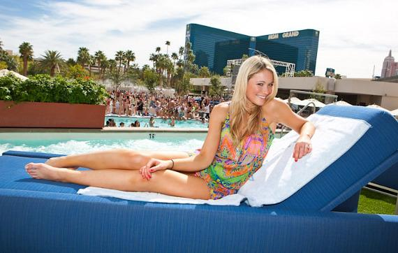Katrina Bowden visits Wet Republic at MGM Grand Las Vegas