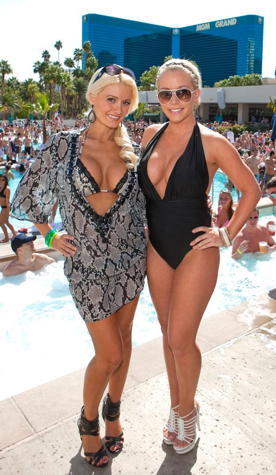 Holly Madison and Kendra Baskett at WET REPUBLIC