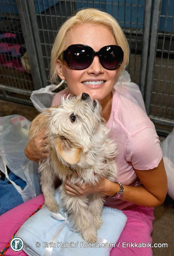 Holly Madison donates blankets to needy dogs at The Animal Foundation