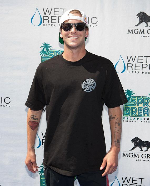 Ryan Sheckler on blue carpet at WET REPUBLIC in Las Vegas