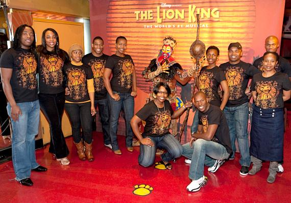"""Cast members  of """"The Lion King"""" reveal the wax figure of Rafiki at Madame Tussauds Las Vegas"""