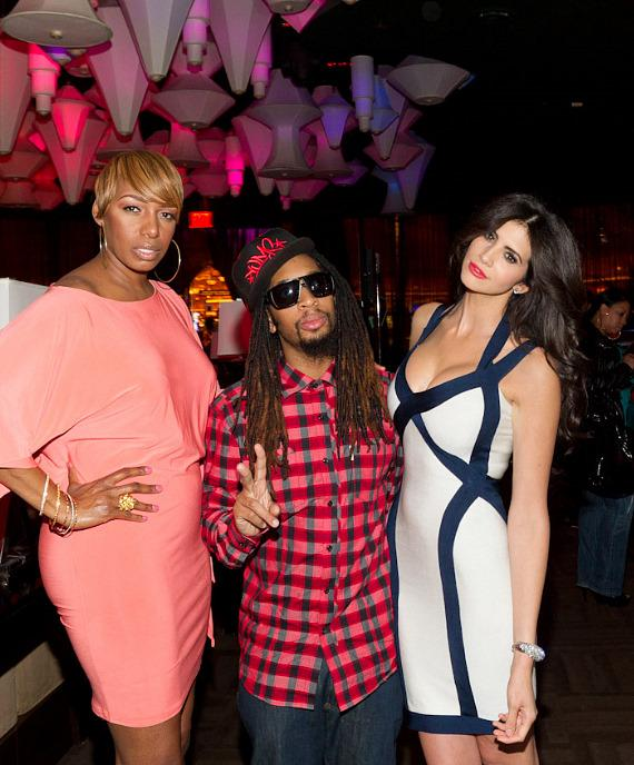 NeNe Leakes, Lil Jon and Hope Dworaczyk at The Celebrity Apprentice Viewing Party at Blush