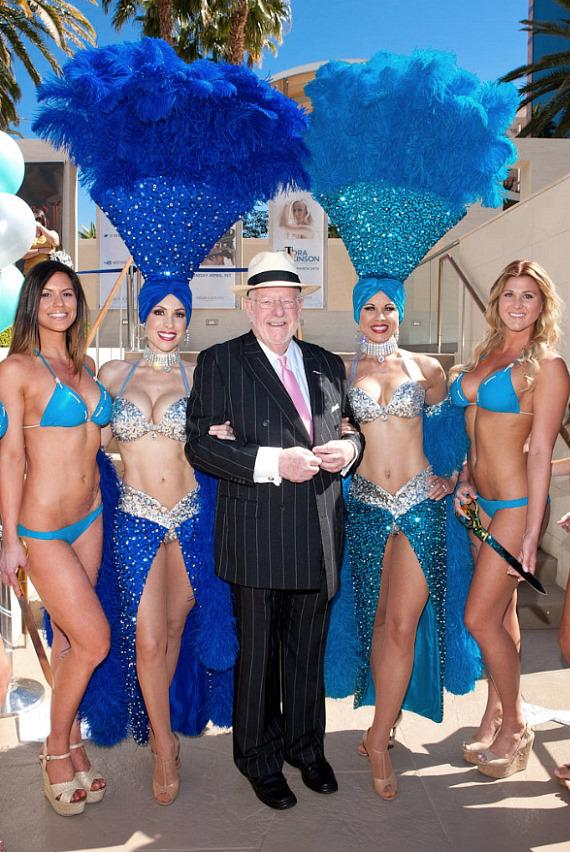 Former Mayor Oscar Goodman with Las Vegas Showgirls and Cocktail Servers