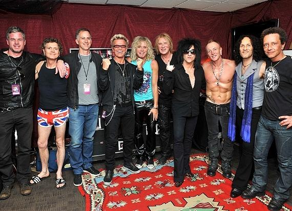 Eric Dane, Rick Allen, Friend, Billy Idol, Rick Savage, Joe Elliott, Steve Stevens, Phil Collen, Vivian Campbell and Billy Morrison hang out following Def Leppard's Resident Show at The Joint in Hard Rock Hotel