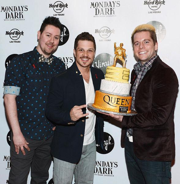 Mark Shunock (center) with Showboy Cakes creators Jared Sullivan and Stephen Lowry
