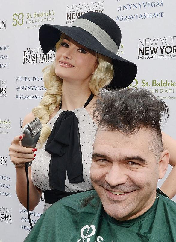 Holly Madison Shaves John Katsilometes' Head for St. Baldrick's Day Fundraiser in Las Vegas