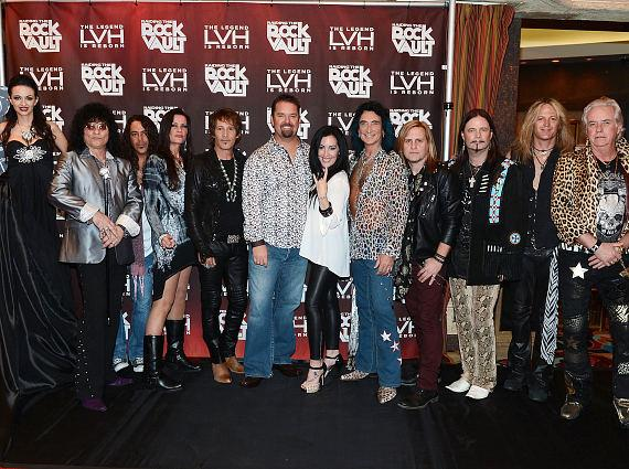 Cast of Raiding the Rock Vault arrive with friends at the Las Vegas Hotel