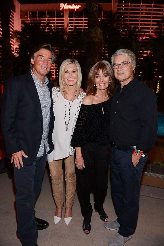 ohn Easterling, Olivia Newton-John, Pat Farrar and John Farrar attend the after party of Olivia Newton-John's new show 'Summer Nights' at Flamingo Las Vegas