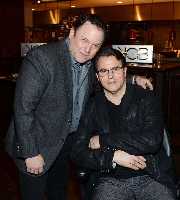 Award-winning actor and comedian Jason Alexander poses with Chef Kerry Simon inside his restaurant, KGB: Kerry's Gourmet Burgers, at Harrah's Las Vegas